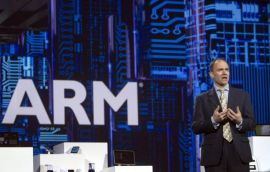 ARM CEO East speaks during a Samsung Electronics keynote address at the CES in Las Vegas