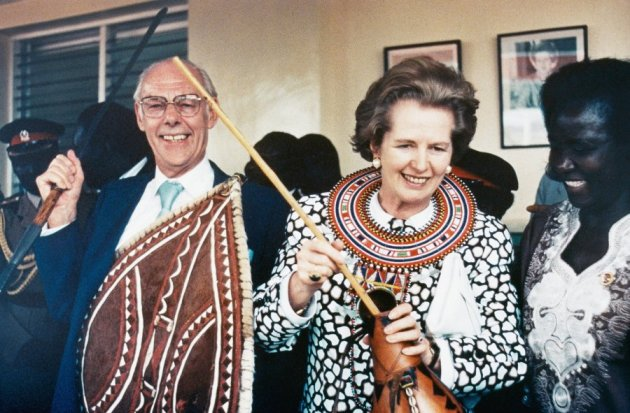 thatcher-and-her-husband-dennis-don-traditional-tribal-garb-on-a-visit-to-kenya-in-1988