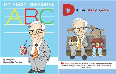 "Handout photo of Chairman and CEO of Berkshire Hathaway Warren Buffett in an illustration on the cover of the book ""My First Berkshire ABC"""