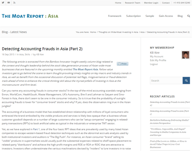 Detecting Accounting Frauds in Asia Part 2