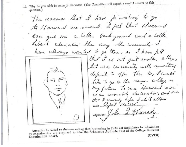 john kennedy jfk harvard university application essay