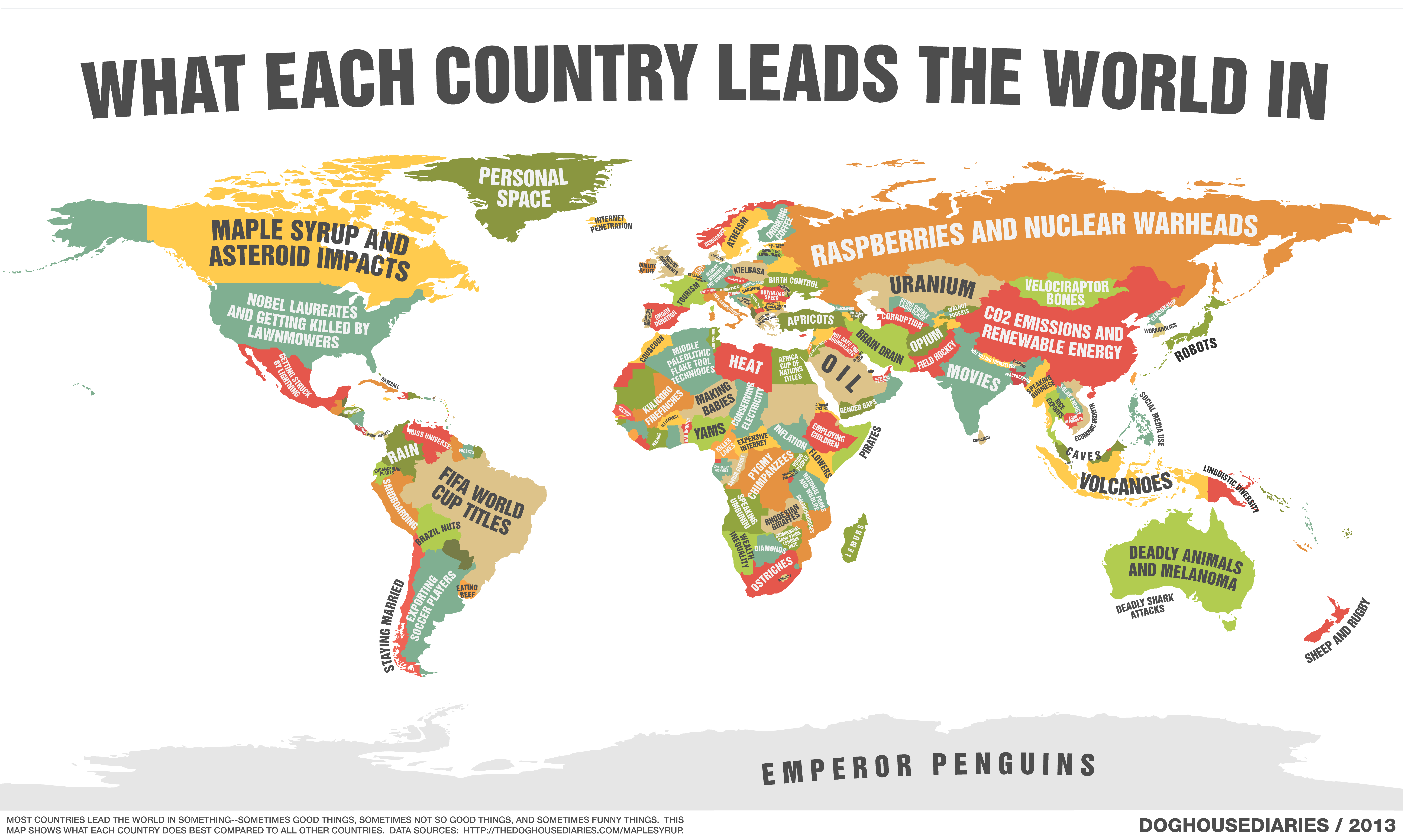 This funny world map shows what every country leads the world in many countries led the world in multiple things 5414 gumiabroncs Image collections